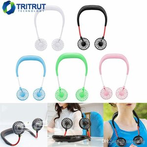 2019 Portable USB ricaricabile Neckband Lazy Neck Hanging Dual Cooling Mini Fan sport Fan girante a 360 gradi MQ100
