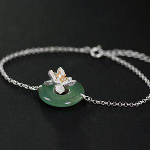 INATURE naturel Cristal Bracelet Argent 925 Fleur de Lotus Bracelets réglable pour femmes Bijoux cadeau