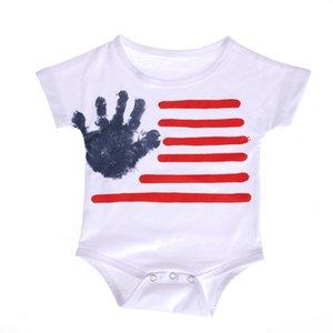 Baby-gestreifte Strampler Baby-Kind-Jungen-Kleidung Strampler Amerikanische Flagge Independence National Day USA 4. Juli Mädchen Printing Kostüm