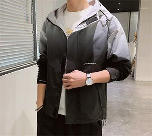 Gradient Hooded Coats Male Clothing Mens Designer Jackets Long Sleeve Letter Print Outerwear Fashion Mens Ins Style