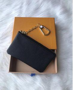 Increíble calidad de los hombres clave de la bolsa con cremallera carpeta de la moneda real de cuero de diseño Damier Cartera M62650 de mujer de marca Mini monedero niñas con la caja