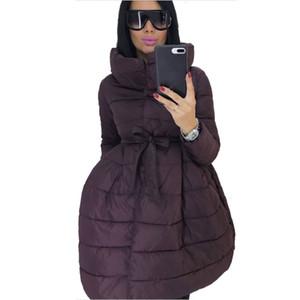 Manteau d'hiver Femmes Jupe Parka Mode bowknot taille moyenne à long col montant en coton rembourré Veste chaude Veste Mujer Invierno
