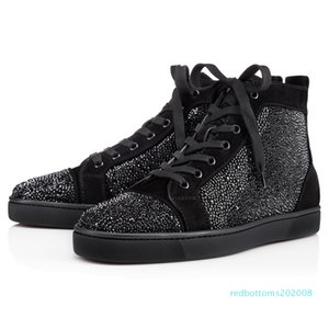 Big Size Eur36-47 Designer High Cut Red Bottom Spike Sedue calf Sneaker Luxury Party Wedding Shoes Genuine Leather Casual Shoe r08