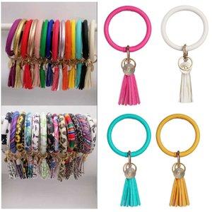 Кожаный Keyrings-кисточка Wristlet брелок-Round Key Chain запястье браслет-Большой круг брелоки браслет для женщин девочек Подвески подарков HH9-2483