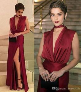 Red Sexy escuro Prom Dresses V profundo Neck High Side Dividir Vestido Comprimento Festa Vestidos ogstuff vestidos de fiesta Abendkleider