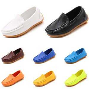 2020 Whole sale children boy leather shoes black white dark blue red wine yellow volt fashion designers shoes free shipping size 27-35