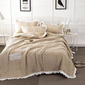 Svetanya 3pc edredón acolchado Stiching Bedcover Colcha y funda de almohada sólida cobertor de color