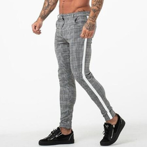 Nuevo diseñador Gyms Joggers Hombres Skinny Tight Pants Ropa deportiva Pantalones deportivos Plaid Fitness Pantalones Hombre Medias Casual Track Bottom Pant Hombres