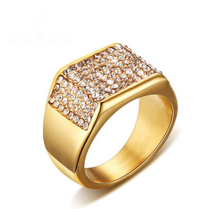 Fashion Men Rings Gold Plated Stainless Steel Ring With Crystals Setting Luxury Jewelry Ring For Men
