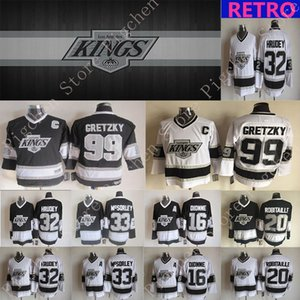 jerseys versão Los Angeles Reis Vintage 99 Gretzky 32 HRUDEY 33 McSorley 16 DIONNE 20 Robitaille CCM Hockey jersey