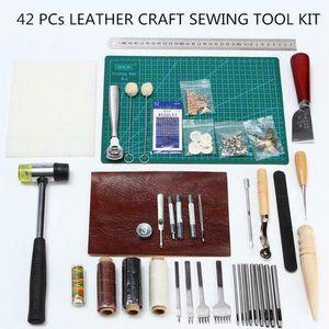 42pcs Leather Craft Kit da cucito Set strumento intaglio Lavoro cucitura Handtool lavoro manuale per fare borse