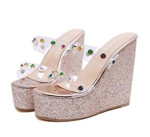 fashion   women shoes sandals glitter rhinestone PVC transparent platform wedge slipper