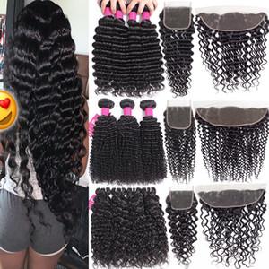 Bundles de cheveux vierges Brésilien avec fermetures 4x4 Fermeture en dentelle ou 13x4 dentelle Fermeture frontale Fermeture profonde Bonds de cheveux humains bouclés avec fermeture