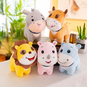 23см Kawaii Hippo лев носорог Плюшевые игрушки Мягкие Бегемот Фаршированные мультфильм животных Кукла автомобиля Спальня Украшение Подвеска кукла Дети подарок на день рождения