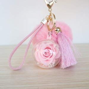 Novelty Preserved Rose Keychain Tassels And Rabbit Fur Key Chain Flower Keyring For Women Girls Handbag Key Decoration