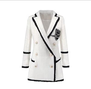 Длинные блейзеры женщин Элегантный Твид шерсти куртки костюм пальто Runway Модельер Тонкий дамы 2020 осень зима Outwear Tops