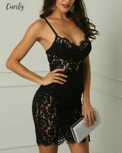 2020 Women Black Lace Sexy Sleeveless Evening Party Ball Prom Gown Formal Club Wear Short Dress