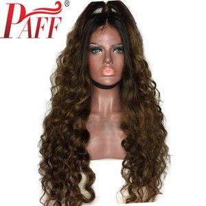 PAFF Ombre Tam Dantel İnsan Saç Peruk Gevşek Dalga Perulu Remy Saç Peruk Iki Ton Koyu Kahverengi Renk ile Bebek Saç