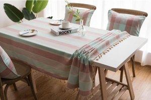 Stripe водонепроницаемый antependium средиземноморский ветер голубой искусства ткани хлопка конопля маленький и чистый и свежий стол прямоугольный чайный столик ткань