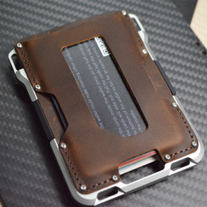 Porte-cartes en cuir pour hommes Blocage RFID Blocage d'aluminium Titulaire de carte de carte de carte métallique multifonctionnel porte-cartes