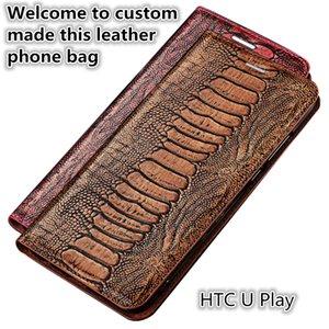 QX15 avestruz pie patrón Gneuine cuero Flip Phone Bag para HTC U Play estuche magnético con soporte Kickstand HTC U Play caja del teléfono