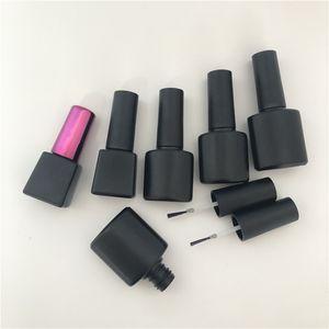 Nail Art Fırçası Cap Siyah Plastik Kare Tırnak Yağı Şişe 5ML / 8ML / 10ML Oje Kapları boşaltın