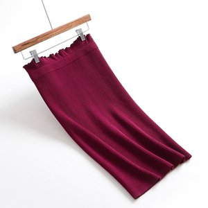 Sherhure 2019 Estiramento Das Mulheres Cintura Alta Primavera Tricô Bodycon Saias Das Mulheres Do Vintage Saia Midi Faldas Preto Jupe Femme Saia