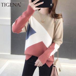 TIGENA contrasto di colore lavorato a maglia Pullover maglione per le donne 2020 Autunno Inverno manica coreano lungo ponticello femmina maglieria Abbigliamento