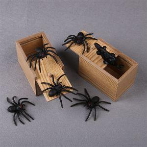 هالوين صعبة صندوق خشبي محاكاة ساخرة العنكبوت علة الإرهاب الخشب حالة مربع مضحك صناديق وودز جديد وصول 4 5yx l1