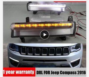Luz corriente diurna para luz antiniebla coche DRL relé 12V LED Jeep Compass 2017 2018 2019 dinámico amarilla a su vez el estilo de luz del intermitente