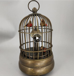 Crafts Copper Bronze Brass Feng Shui DecorationCollectible Decorate Old Handwork Copper Two Bird In Cage Mechanical Table Clock