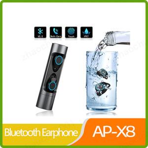 Toque TWS X8 Bluetooth 5.0 sem fio fone de ouvido à prova d'água IPX7 Headset com carregamento Box Para Xiaomi IPhone Huawei
