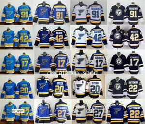 Kış Klasik Hokey 91 Vladimir Tarasenko Formaları St. Louis Blues 17 Jaden Schwartz 22 Kevin Shattenkirk 30 Martin Brodeur Mavi Beyaz
