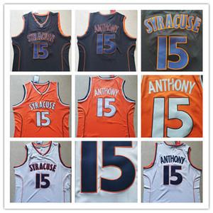 Новый Сиракузный колледж NCAA CARMELO # 15 Anthony Jersey Оранжевый черный белый мужской высшего качества Энтони колледж баскетбол майки сшитые