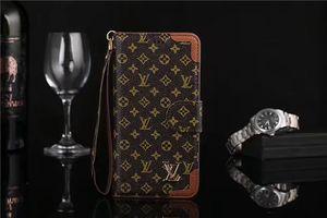 Nuevo monograma de cuero Flip Wallet Funda de teléfono de parachoques con cuerda de mano para Iphone XS Max / XR X 8/7/6 Plus Funda para teléfono móvil con ranura para tarjeta