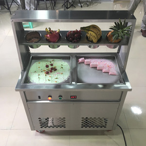 New Commercial Ice Cream Roll Machine 1800W Tailândia Fry Ice Cream Roll Machine Laminados Fried Ice Cream Máquina