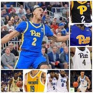 Individueller Pittsburgh Panther 2020 PITT Basketball, Schwarz, Blau, Weiß, Gelb 1 Xavier Johnson 2 Trey McGowens 24 Ryan Murphy Männer Jugend Kid Jersey
