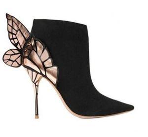 Freies Verschiffen Frauen Leder, Schmetterlingsflügel Verkleidung, hohe Absätze, Reißverschlussöffnung, spitze Stiefel, Größe: 34-42, schwarz