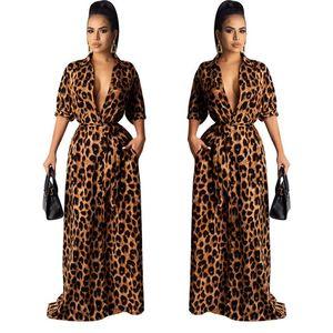 Vestidos maxi otoño v cuello medio manga sexy ropa femenina moda estilo casual ropa para mujer leopardo desinger