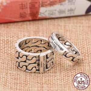 S925 Sterling Silber Ring Persönlichkeit Modeschmuck Vintage handgeschnitzten gewebten Brief Ring Punk Herren Ring 2019 neue heiße