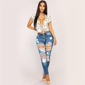 Fashion Jeans Ripped pour les femmes Boyfriends Jeans trou Femme mi taille extensible Slim Sexy Taille Plus Crayon Pantalons E21