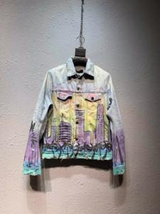 남자를위한 2019 겨울 새로운 남성 디자이너 수도권 인쇄 demin 재킷 미국 SIZE 재킷 ~ 새로운 패션 디자이너 고품질 demin 재킷