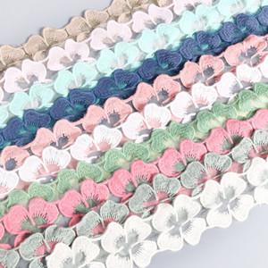 Meetee Pretty Embroidery Lace 5cm Flower Cotton Lace Trim DIY Costura Artesanía Materiales Ropa Accesorio Lace AP2189
