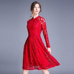 DROWYD 빈티지 레이스 꽃 미디 드레스 여성 패션 여자 캐주얼 블루 레드 보헤미안 긴 드레스 우아한 클럽 파티 Vestidos