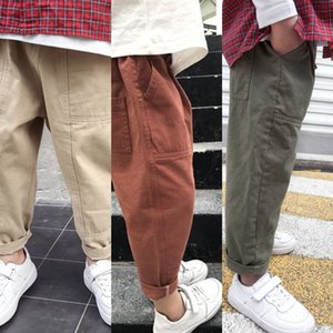 clothing autumn 2019 pure cotton casual trousers chinos Children's boys' tooling fashionable trousers medium and large children's