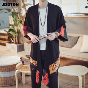 JDDTON Nuevos hombres Primavera Kimono Lino Cárdigan largo Abrigo Abrigo Moda Casual Suelto Irregular Longitud Chaqueta masculina Abrigo JE001