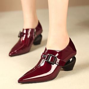 Goddess2019 특허 시즌 가죽 단화 깊은 라이트 Pi Liang Noodles Alcohol Red Woman Shoes