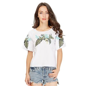 women elegant leaf embroidery shirts short sleeve o neck white blouse ladies summer casual tops blusas mujer