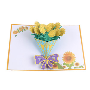 Fashion Chrysanthemum Invitation Cards 3D Stereo Sticker Greeting Card Birthday Gift Postcard Postcard With Envelope