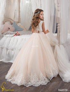 Lovely White Flower Girls Dresses For Wedding Back Bow Tulle Floor Length Girls Birthday Drsses First cummunion dresse
